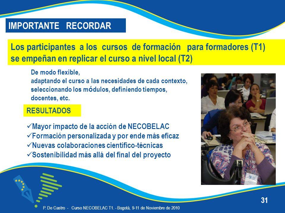 P. De Castro - Curso NECOBELAC T1. - Bogotà, 9-11 de Noviembre de 2010 31 Mayor impacto de la acción de NECOBELAC Formación personalizada y por ende m