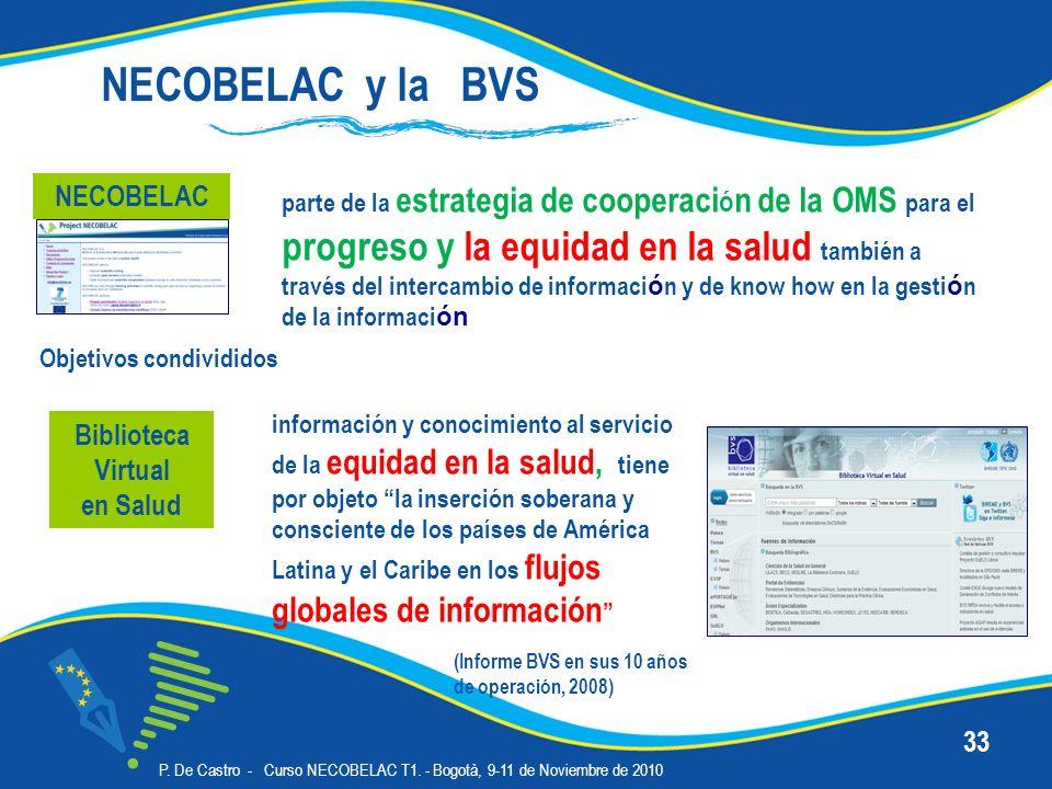 P. De Castro - Curso NECOBELAC T1. - Bogotà, 9-11 de Noviembre de 2010 33 Biblioteca Virtual en Salud información y conocimiento al servicio de la equ