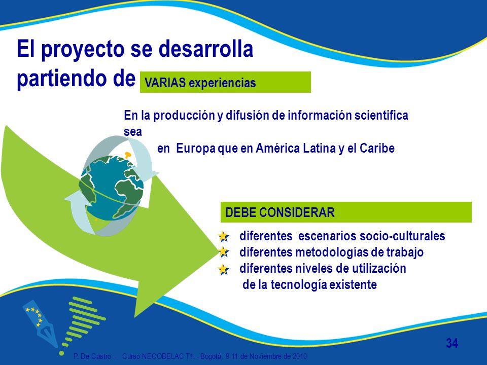 P. De Castro - Curso NECOBELAC T1. - Bogotà, 9-11 de Noviembre de 2010 34 El proyecto se desarrolla partiendo de En la producción y difusión de inform
