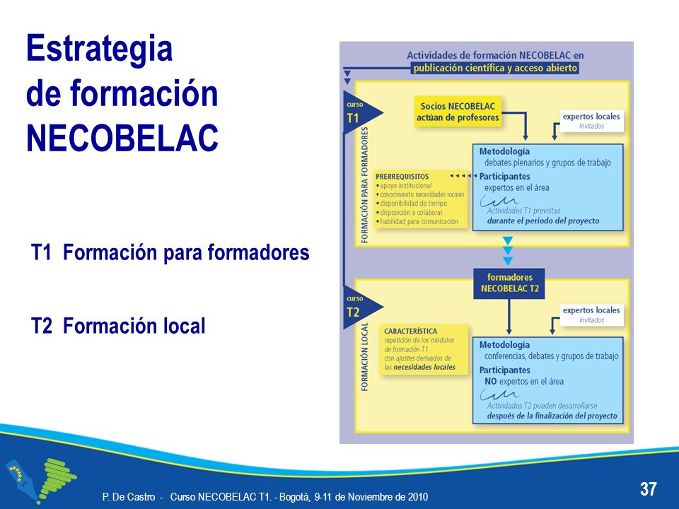 Estrategia de formación NECOBELAC 37 P. De Castro - Curso NECOBELAC T1. - Bogotà, 9-11 de Noviembre de 2010 T2 Formación local T1 Formación para forma