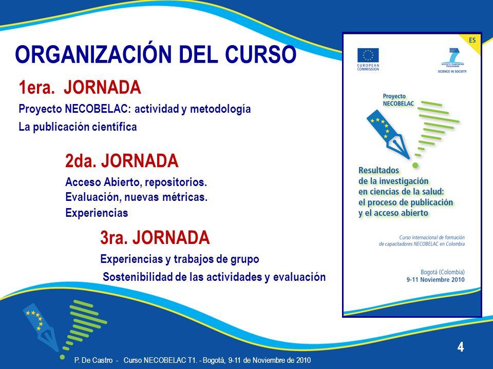 ORGANIZACIÓN DEL CURSO 3ra. JORNADA Experiencias y trabajos de grupo Sostenibilidad de las actividades y evaluación P. De Castro - Curso NECOBELAC T1.