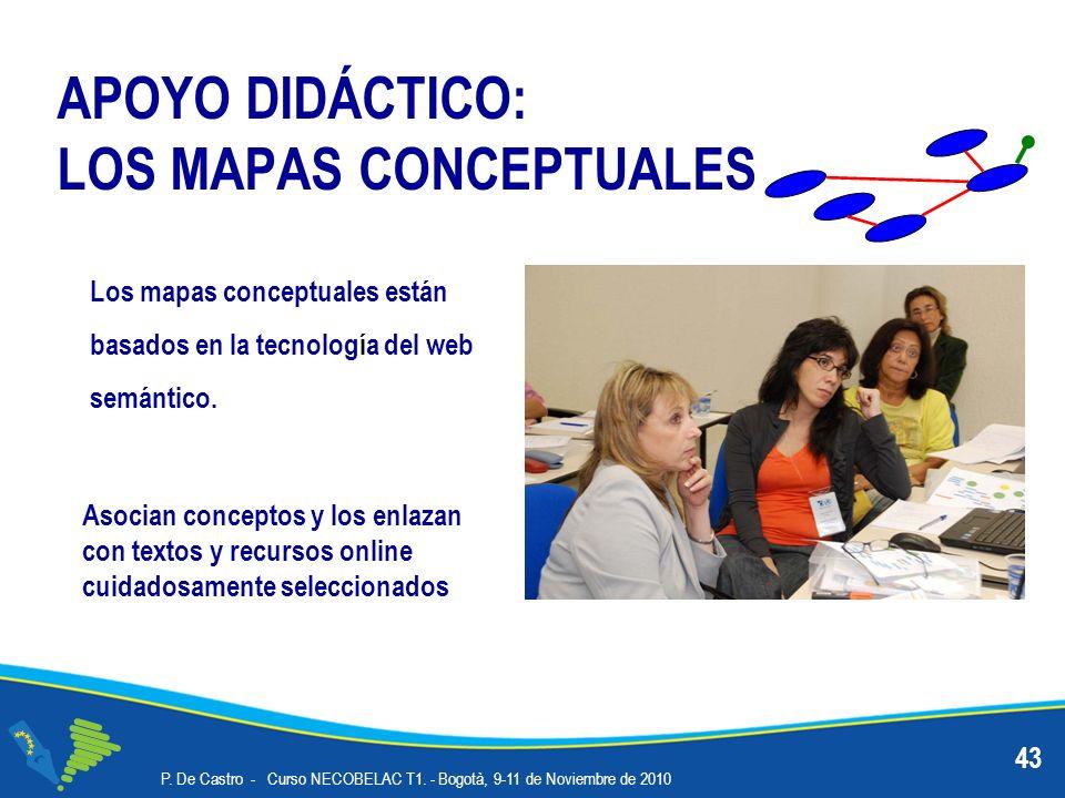APOYO DIDÁCTICO: LOS MAPAS CONCEPTUALES 43 Los mapas conceptuales están basados en la tecnología del web semántico. P. De Castro - Curso NECOBELAC T1.