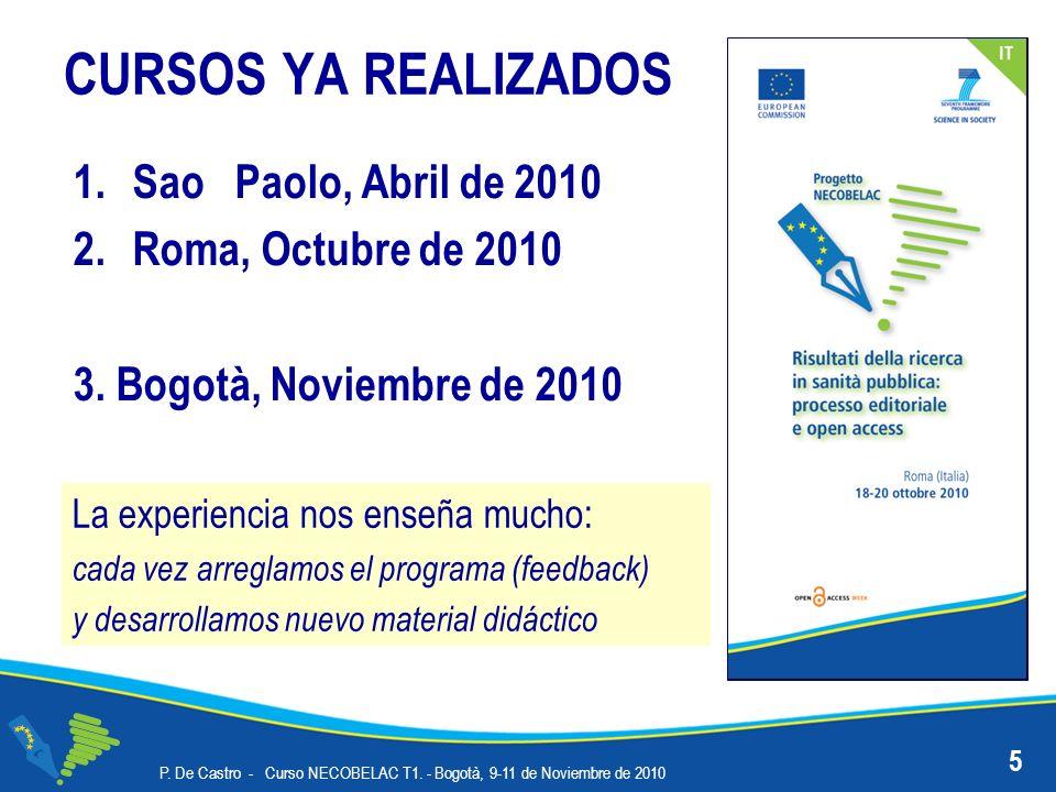 ALGUNOS DATOS DEL DSPACE ISS 16 P.De Castro - Curso NECOBELAC T1.
