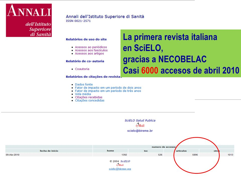 P. De Castro - Curso NECOBELAC T1. - Bogotà, 9-11 de Noviembre de 2010 50 La primera revista italiana en SciELO, gracias a NECOBELAC Casi 6000 accesos