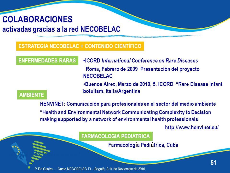 COLABORACIONES activadas gracias a la red NECOBELAC OPENAIR - http://www.openaire.eu/ P. De Castro - Curso NECOBELAC T1. - Bogotà, 9-11 de Noviembre d