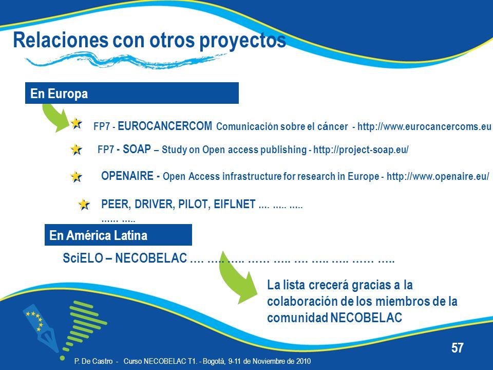 P. De Castro - Curso NECOBELAC T1. - Bogotà, 9-11 de Noviembre de 2010 57 Relaciones con otros proyectos En Europa En América Latina La lista crecerá