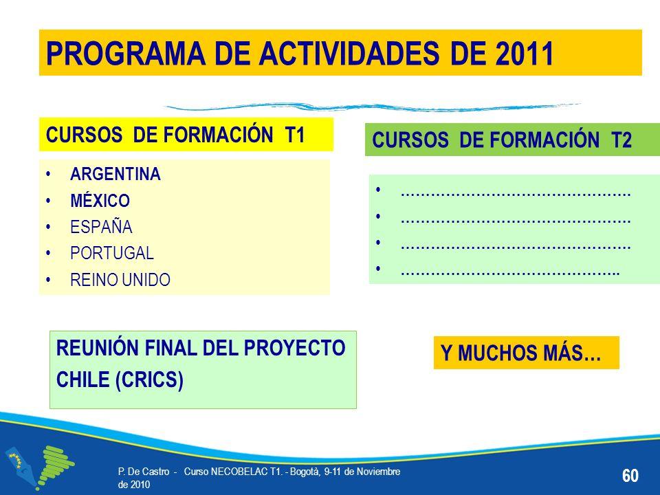 REUNIÓN FINAL DEL PROYECTO CHILE (CRICS) PROGRAMA DE ACTIVIDADES DE 2011 Y MUCHOS MÁS… ó á 60 P. De Castro - Curso NECOBELAC T1. - Bogotà, 9-11 de Nov