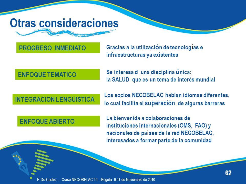 P. De Castro - Curso NECOBELAC T1. - Bogotà, 9-11 de Noviembre de 2010 62 Otras consideraciones PROGRESO INMEDIATO Se interesa d una disciplina ú nica