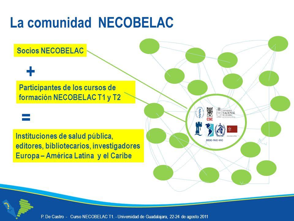 La comunidad NECOBELAC Socios NECOBELAC Participantes de los cursos de formación NECOBELAC T1 y T2 + Instituciones de salud pública, editores, bibliotecarios, investigadores Europa – América Latina y el Caribe =