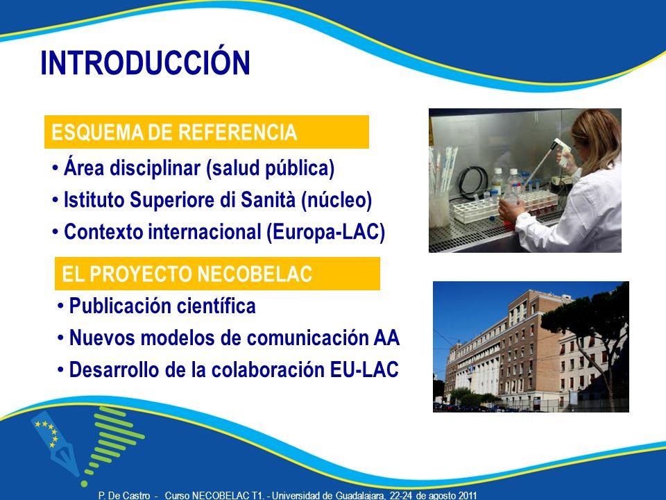 INTRODUCCIÓN Área disciplinar (salud pública) Istituto Superiore di Sanità (núcleo) Contexto internacional (Europa-LAC) Publicación científica Nuevos modelos de comunicación AA Desarrollo de la colaboración EU-LAC EL PROYECTO NECOBELAC ESQUEMA DE REFERENCIA P.