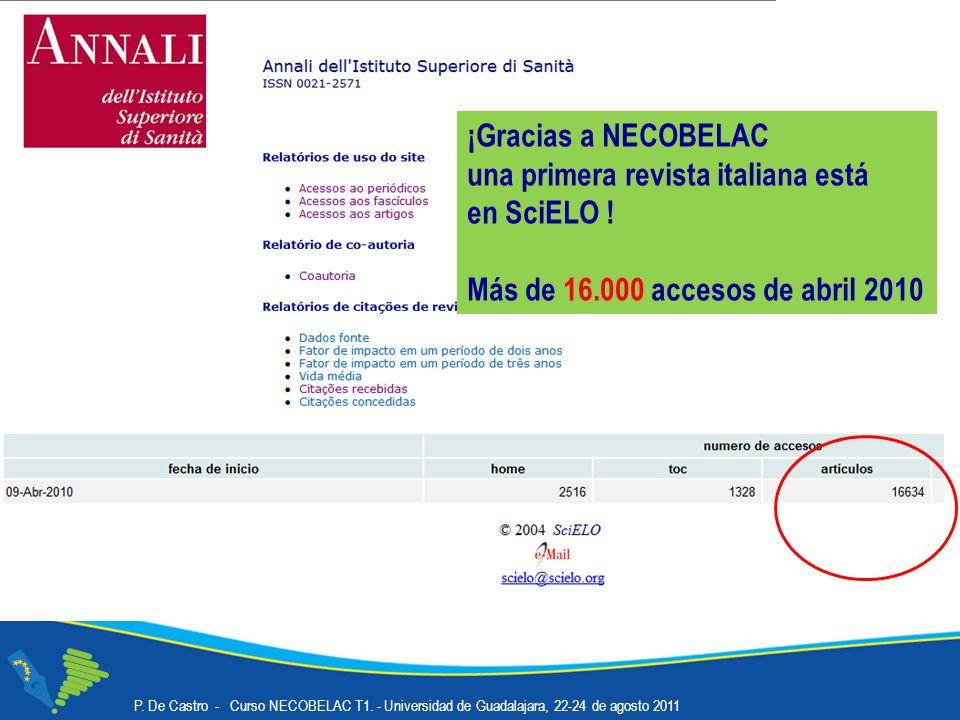 ¡Gracias a NECOBELAC una primera revista italiana está en SciELO .