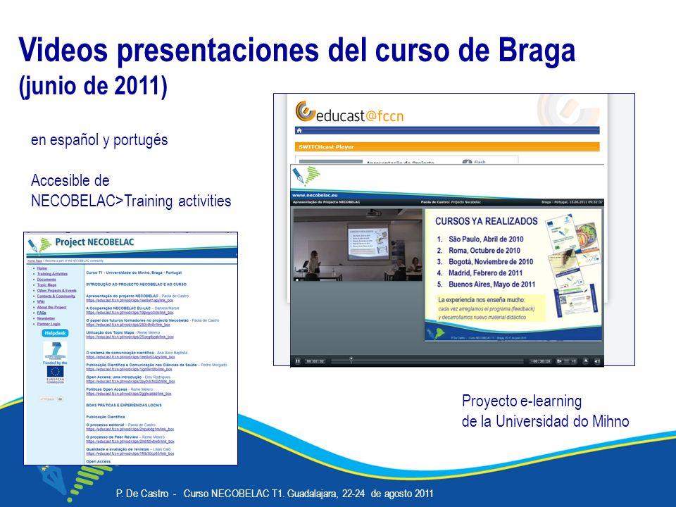 P. De Castro - Curso NECOBELAC T1. Guadalajara, 22-24 de agosto 2011 Corso NECOBELAC T1. - Roma 18-20 ottobre 2010 14 Videos presentaciones del curso