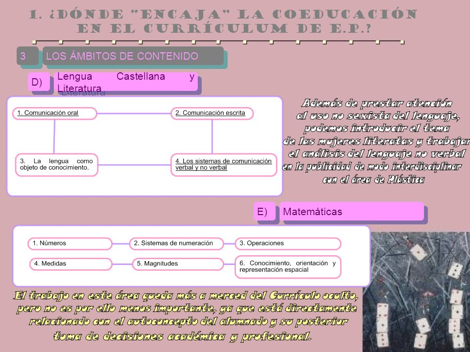 LOS ÁMBITOS DE CONTENIDO 3 3 Lengua Castellana y Literatura D) Matemáticas E)