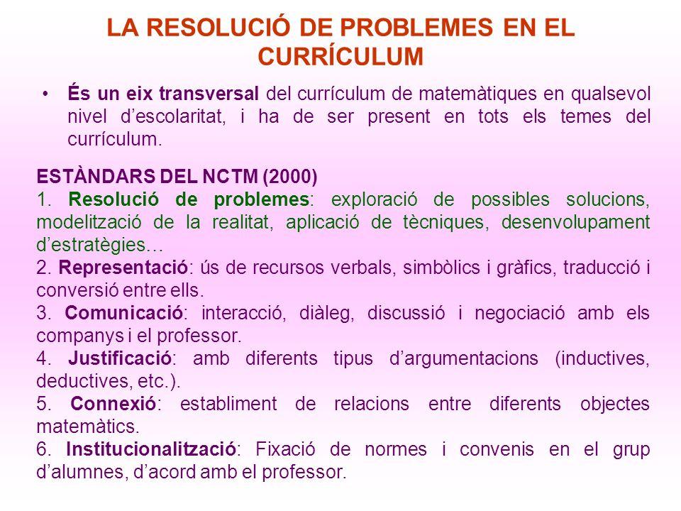 LA RESOLUCIÓN DE PROBLEMAS EN EL CURRÍCULO COMPETENCIAS Hacer uso de estrategias de investigación y resolución de problemas La resolución de problemas constituye, en matemáticas, un contexto universal de aprendizaje, por eso, siempre tiene que estar presente.