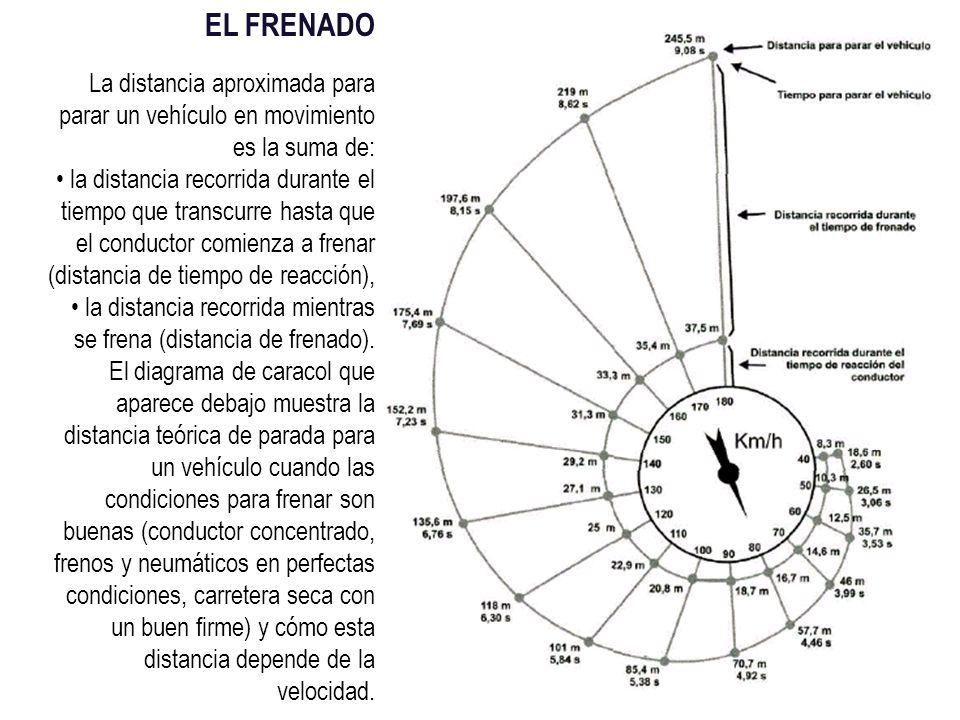 EL FRENADO La distancia aproximada para parar un vehículo en movimiento es la suma de: la distancia recorrida durante el tiempo que transcurre hasta que el conductor comienza a frenar (distancia de tiempo de reacción), la distancia recorrida mientras se frena (distancia de frenado).