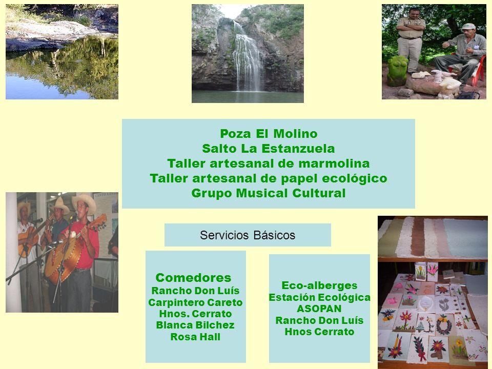 Poza El Molino Salto La Estanzuela Taller artesanal de marmolina Taller artesanal de papel ecológico Grupo Musical Cultural Comedores Rancho Don Luís