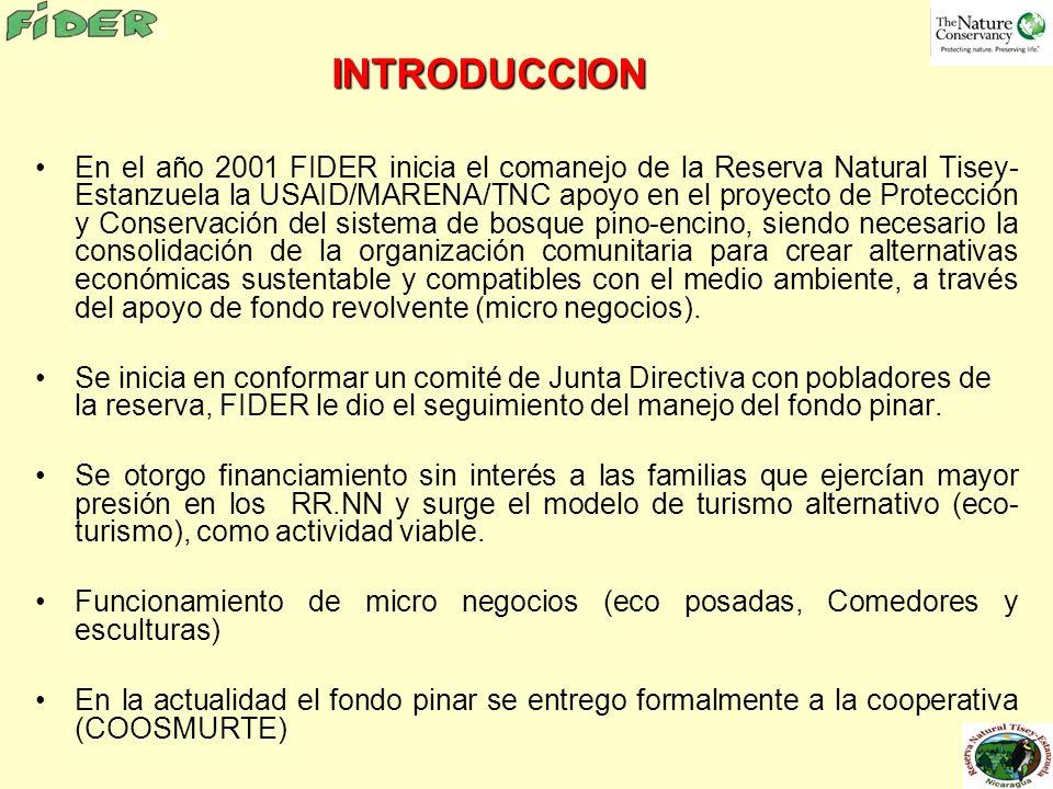 INTRODUCCION En el año 2001 FIDER inicia el comanejo de la Reserva Natural Tisey- Estanzuela la USAID/MARENA/TNC apoyo en el proyecto de Protección y