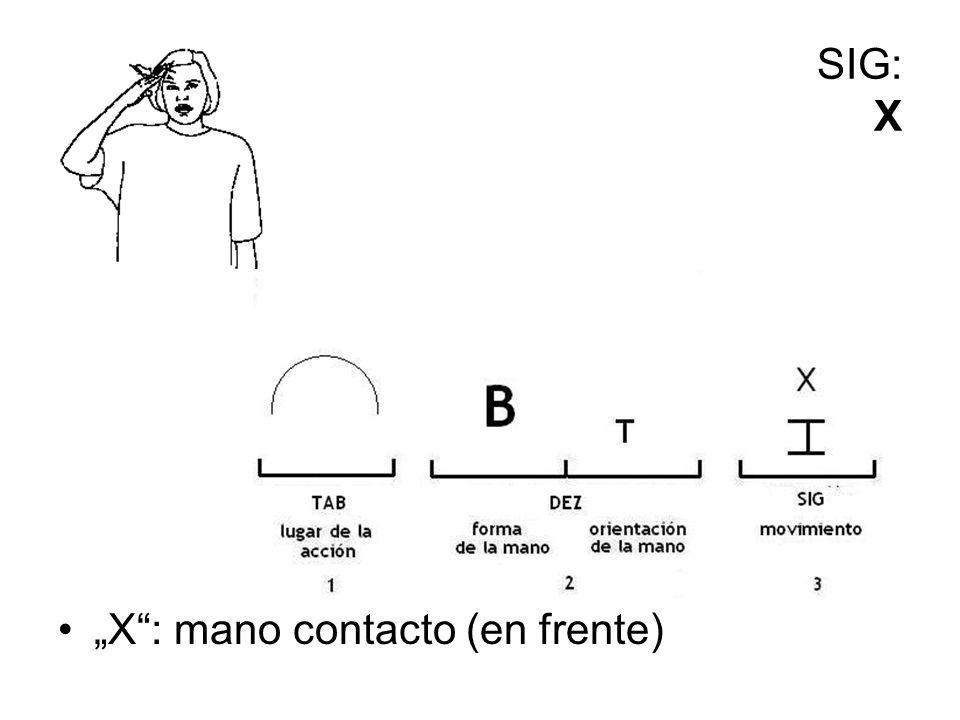 SIG: X X: mano contacto (en frente)