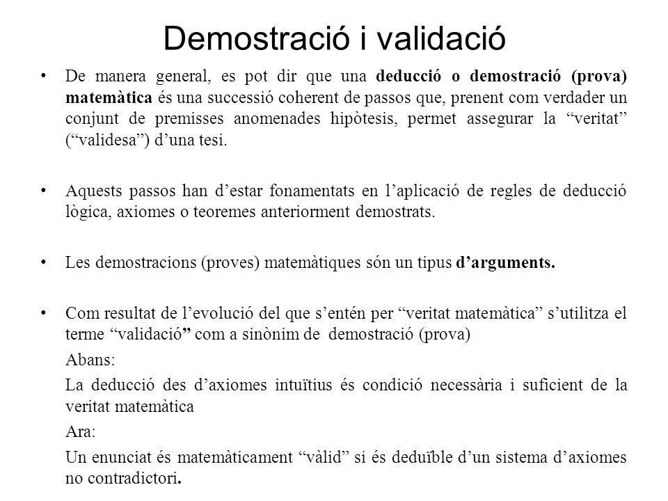 Demostració i validació De manera general, es pot dir que una deducció o demostració (prova) matemàtica és una successió coherent de passos que, prene