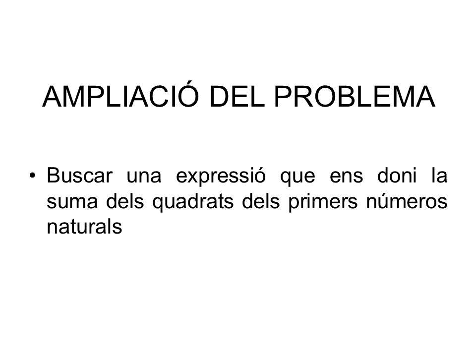 AMPLIACIÓ DEL PROBLEMA Buscar una expressió que ens doni la suma dels quadrats dels primers números naturals