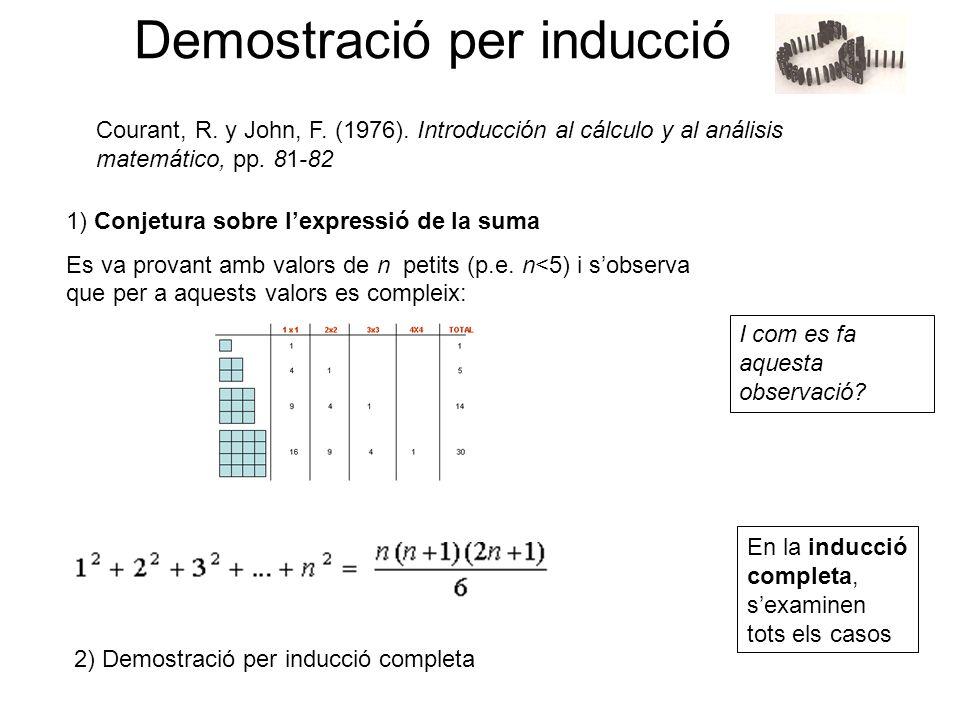 Demostració per inducció 1) Conjetura sobre lexpressió de la suma Es va provant amb valors de n petits (p.e. n<5) i sobserva que per a aquests valors