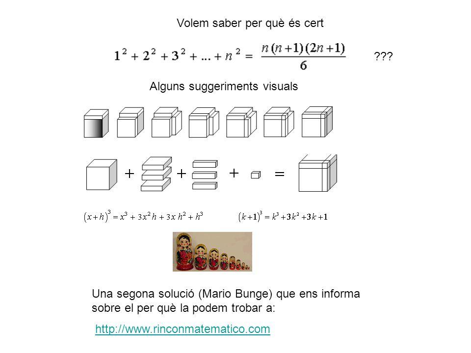 Alguns suggeriments visuals ??? Una segona solució (Mario Bunge) que ens informa sobre el per què la podem trobar a: http://www.rinconmatematico.com V