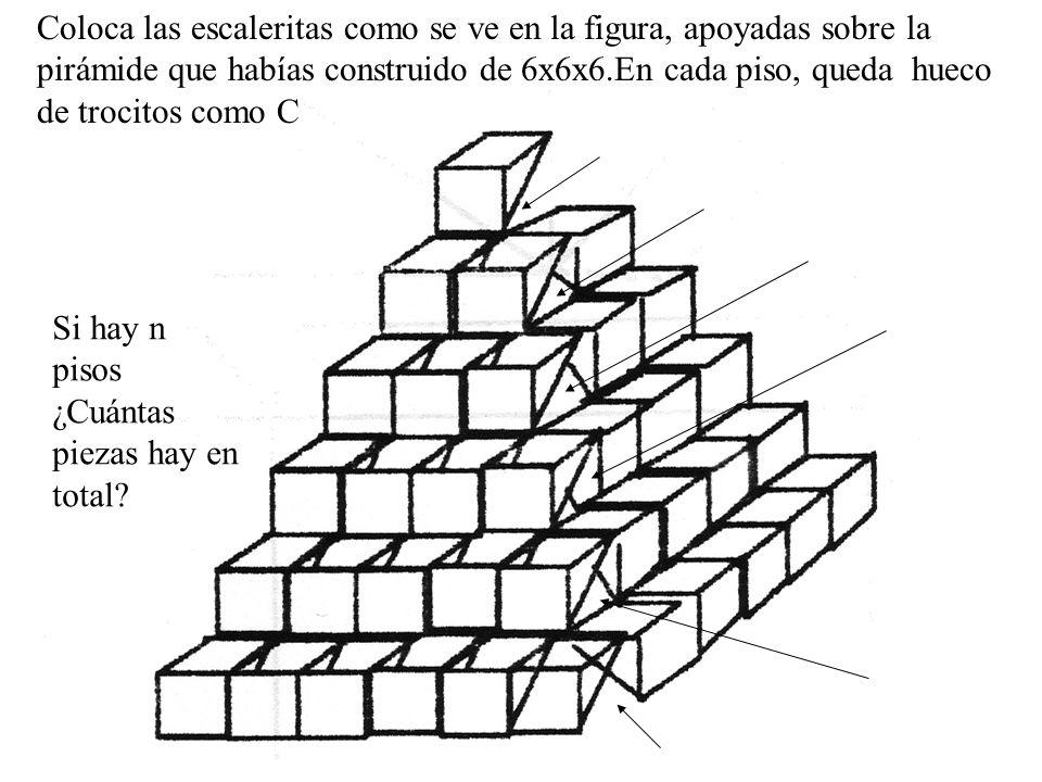 Coloca las escaleritas como se ve en la figura, apoyadas sobre la pirámide que habías construido de 6x6x6.En cada piso, queda hueco de trocitos como C