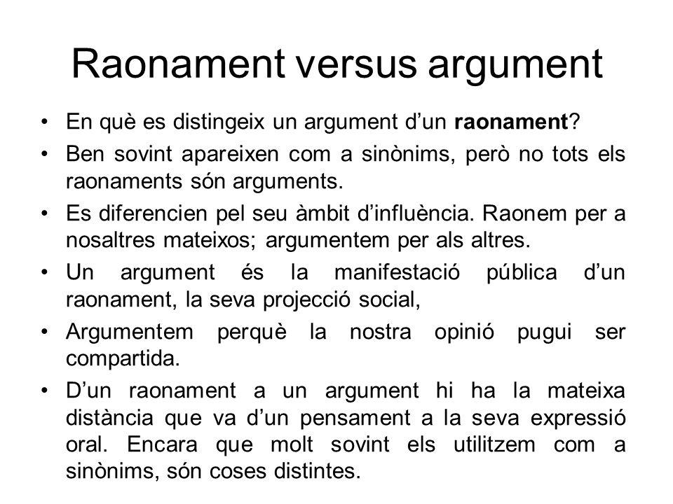 Raonament versus argument En què es distingeix un argument dun raonament? Ben sovint apareixen com a sinònims, però no tots els raonaments són argumen