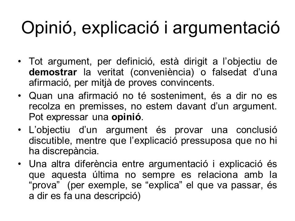 Opinió, explicació i argumentació Tot argument, per definició, està dirigit a lobjectiu de demostrar la veritat (conveniència) o falsedat duna afirmac