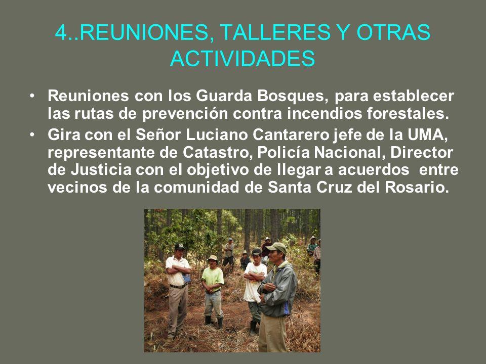 4..REUNIONES, TALLERES Y OTRAS ACTIVIDADES Reuniones con los Guarda Bosques, para establecer las rutas de prevención contra incendios forestales. Gira