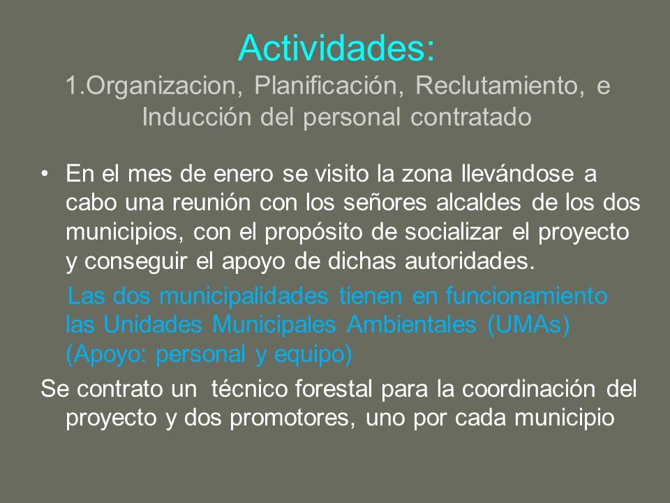 Actividades: 1.Organizacion, Planificación, Reclutamiento, e Inducción del personal contratado En el mes de enero se visito la zona llevándose a cabo