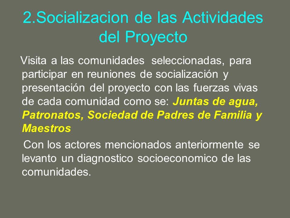 2.Socializacion de las Actividades del Proyecto Visita a las comunidades seleccionadas, para participar en reuniones de socialización y presentación d