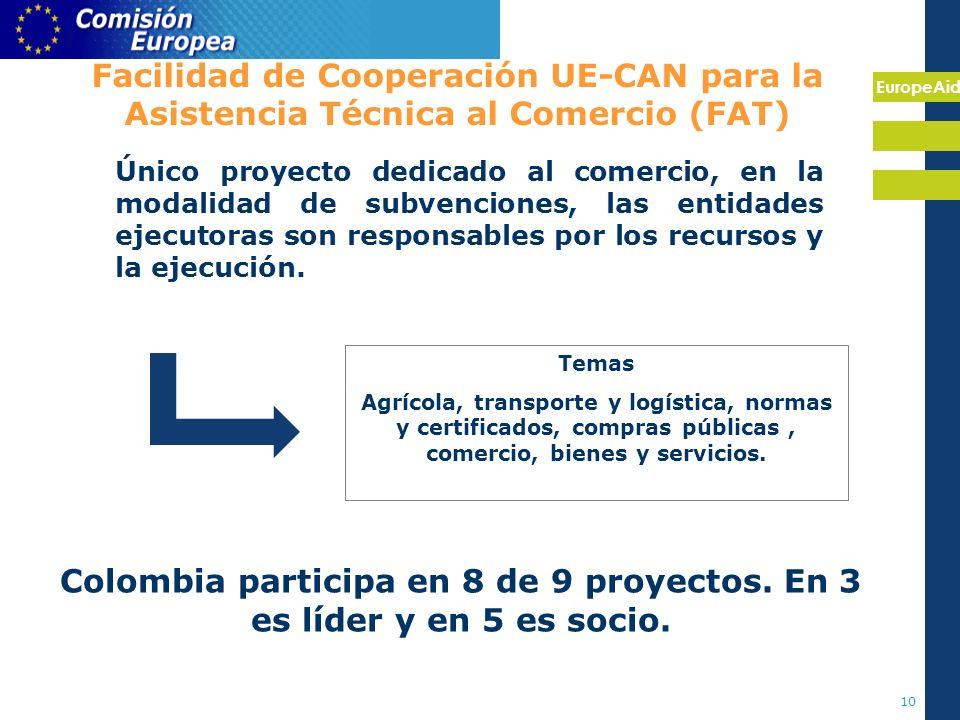 EuropeAid 10 Facilidad de Cooperación UE-CAN para la Asistencia Técnica al Comercio (FAT) Temas Agrícola, transporte y logística, normas y certificados, compras públicas, comercio, bienes y servicios.