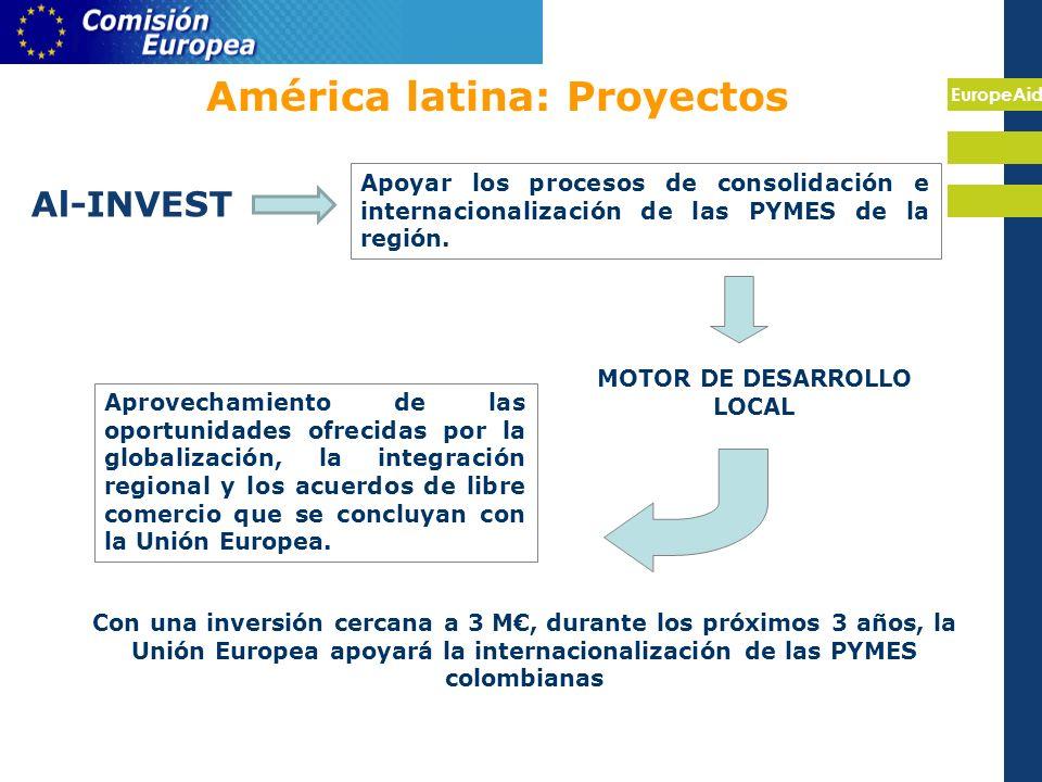 EuropeAid América latina: Proyectos Al-INVEST Apoyar los procesos de consolidación e internacionalización de las PYMES de la región.