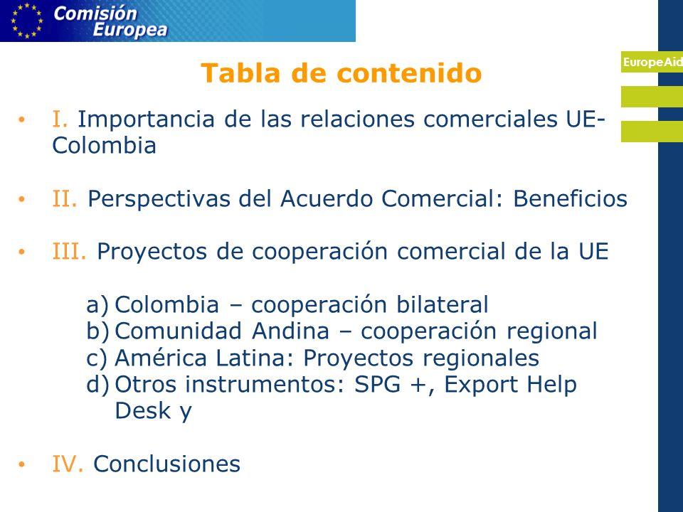 EuropeAid Tabla de contenido I. Importancia de las relaciones comerciales UE- Colombia II.