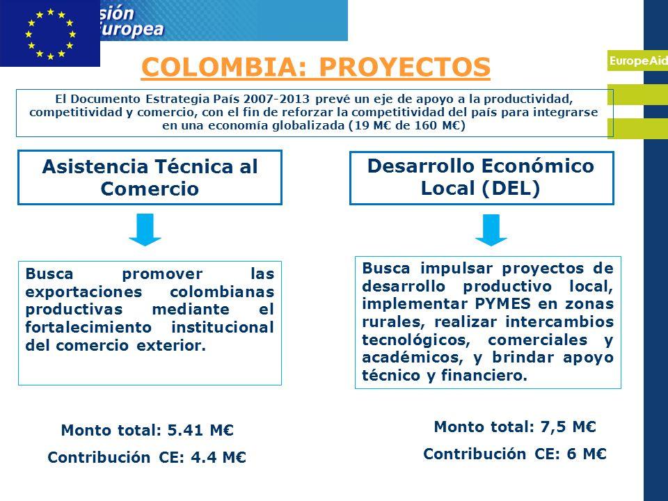 EuropeAid COLOMBIA: PROYECTOS Asistencia Técnica al Comercio Desarrollo Económico Local (DEL) Busca promover las exportaciones colombianas productivas mediante el fortalecimiento institucional del comercio exterior.