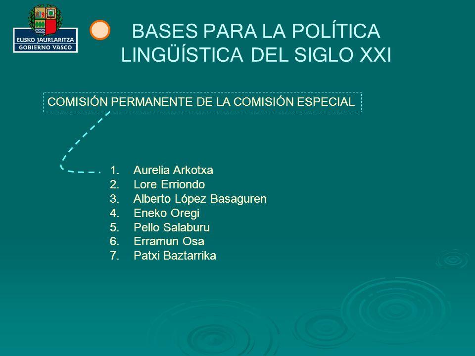EUSKARA XXI: PROCESO (I) COMISIÓN PERMANENTE DE LA COMISIÓN ESPECIAL BASES PARA LA POLÍTICA LINGÜÍSTICA DE PRINCIPIOS DEL SIGLO XXI.