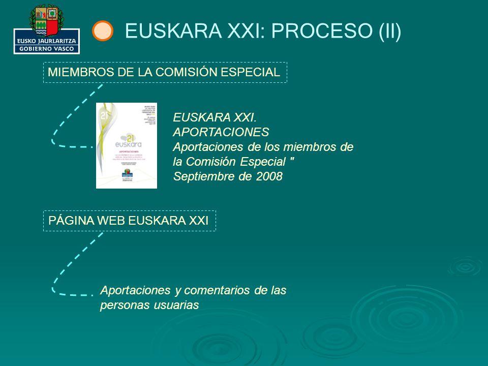EUSKARA XXI: PROCESO (III) COMISIÓN ESPECIAL EUSKARA XXI.
