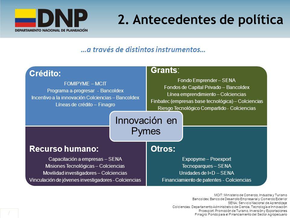 2. Antecedentes de política / …a través de distintos instrumentos… Crédito: FOMIPYME – MCIT Programa a-progresar - Bancoldex Incentivo a la innovación