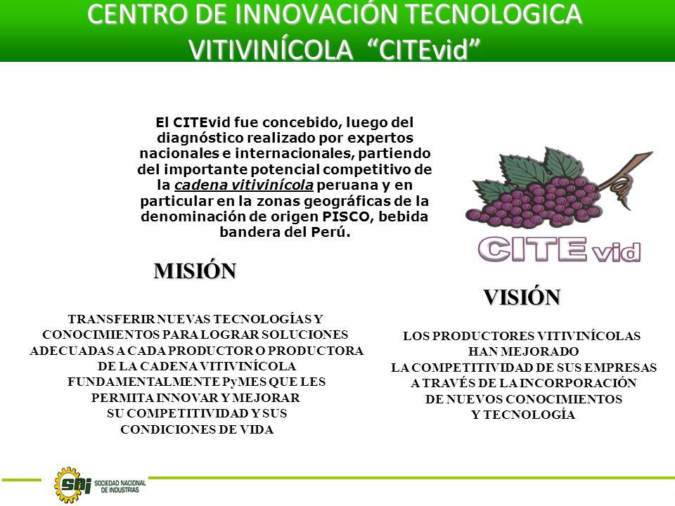 El CITEvid fue concebido, luego del diagnóstico realizado por expertos nacionales e internacionales, partiendo del importante potencial competitivo de la cadena vitivinícola peruana y en particular en la zonas geográficas de la denominación de origen PISCO, bebida bandera del Perú.