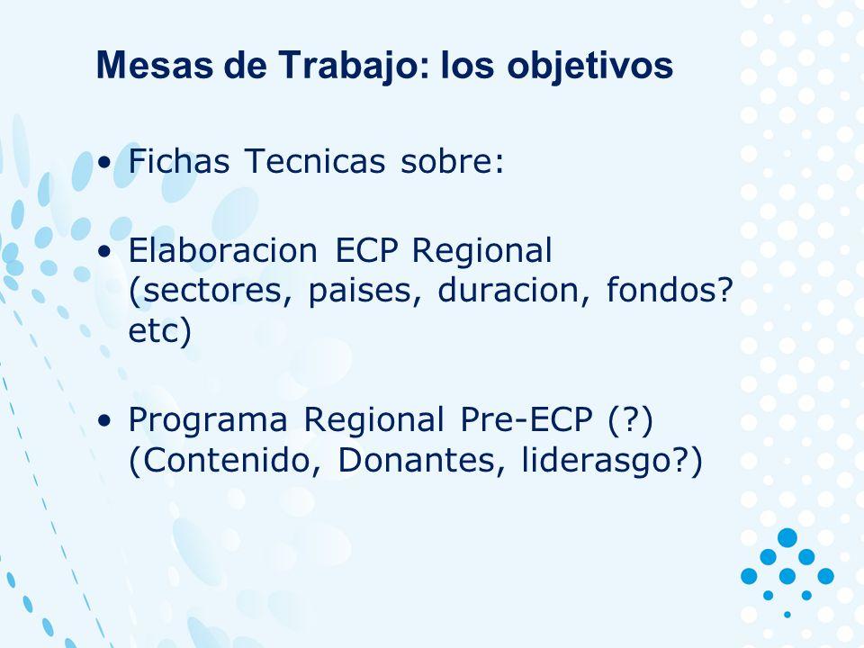 Mesas de Trabajo: los objetivos Fichas Tecnicas sobre: Elaboracion ECP Regional (sectores, paises, duracion, fondos.
