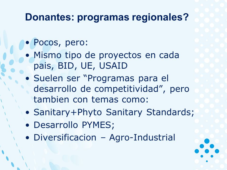 Donantes: programas regionales.