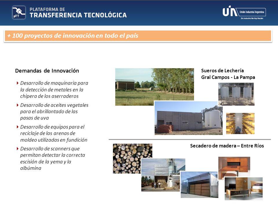 Demandas de Innovación Desarrollo de maquinaria para la detección de metales en la chipera de los aserraderos Desarrollo de aceites vegetales para el
