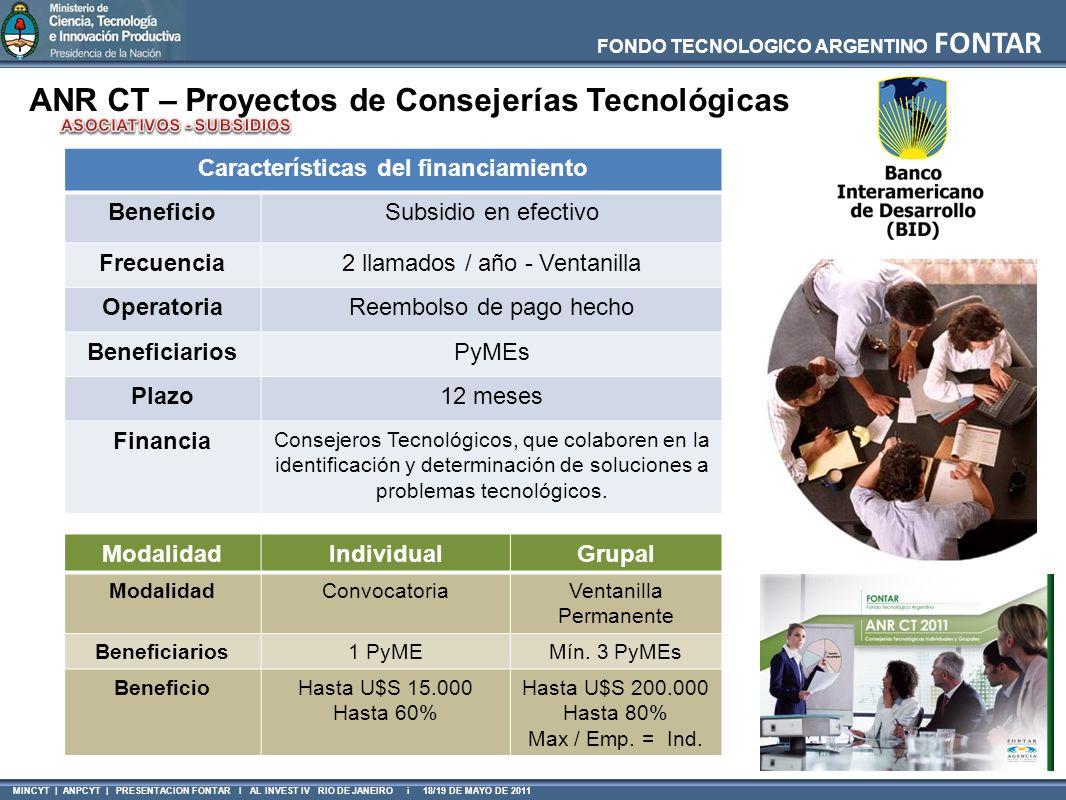 FONDO TECNOLOGICO ARGENTINO FONTAR MINCYT | ANPCYT | PRESENTACION FONTAR I AL INVEST IV RIO DE JANEIRO i 18/19 DE MAYO DE 2011 ANR CT – Proyectos de C
