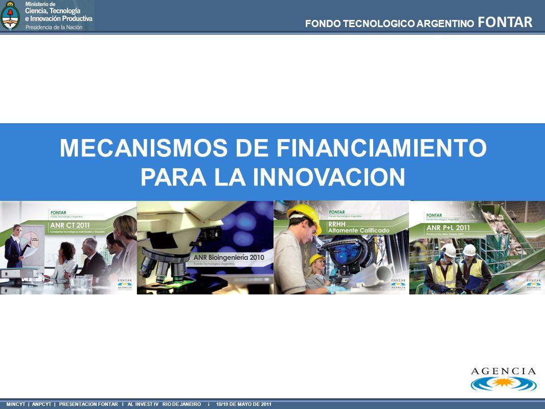 MINCYT | ANPCYT | PRESENTACION FONTAR I AL INVEST IV RIO DE JANEIRO i 18/19 DE MAYO DE 2011 FONDO TECNOLOGICO ARGENTINO FONTAR MECANISMOS DE FINANCIAM