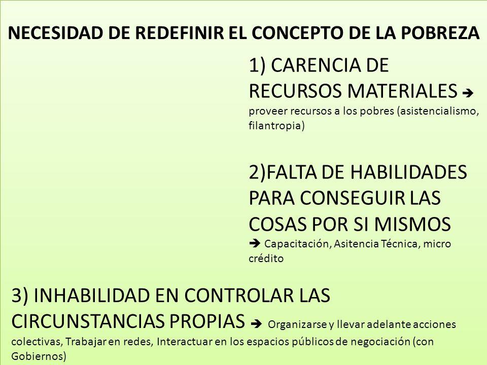 NECESIDAD DE REDEFINIR EL CONCEPTO DE LA POBREZA 1) CARENCIA DE RECURSOS MATERIALES proveer recursos a los pobres (asistencialismo, filantropia) 2)FALTA DE HABILIDADES PARA CONSEGUIR LAS COSAS POR SI MISMOS Capacitación, Asitencia Técnica, micro crédito 3) INHABILIDAD EN CONTROLAR LAS CIRCUNSTANCIAS PROPIAS Organizarse y llevar adelante acciones colectivas, Trabajar en redes, Interactuar en los espacios públicos de negociación (con Gobiernos)