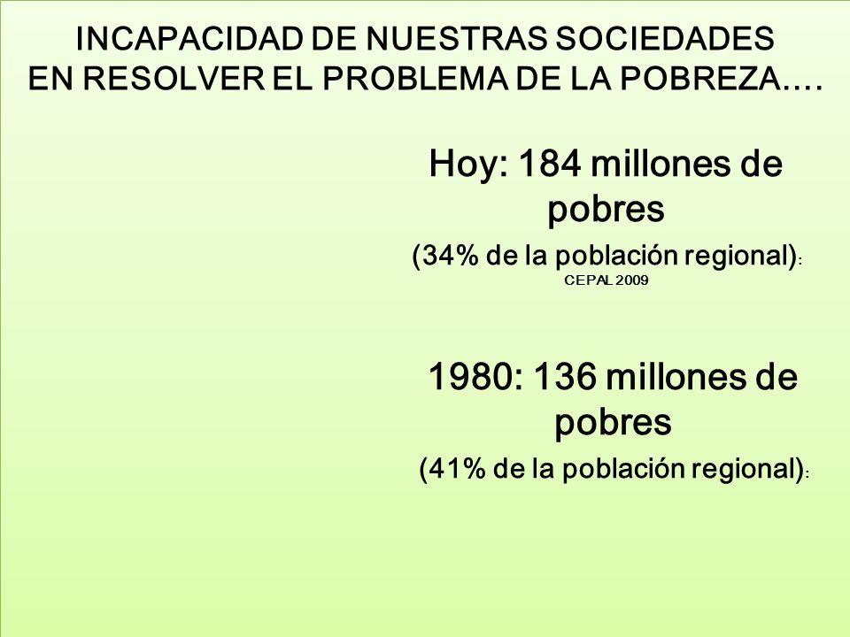 INCAPACIDAD DE NUESTRAS SOCIEDADES EN RESOLVER EL PROBLEMA DE LA POBREZA….