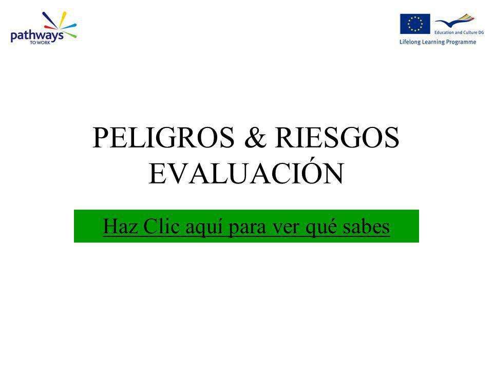 PELIGROS & RIESGOS EVALUACIÓN Haz Clic aquí para ver qué sabes