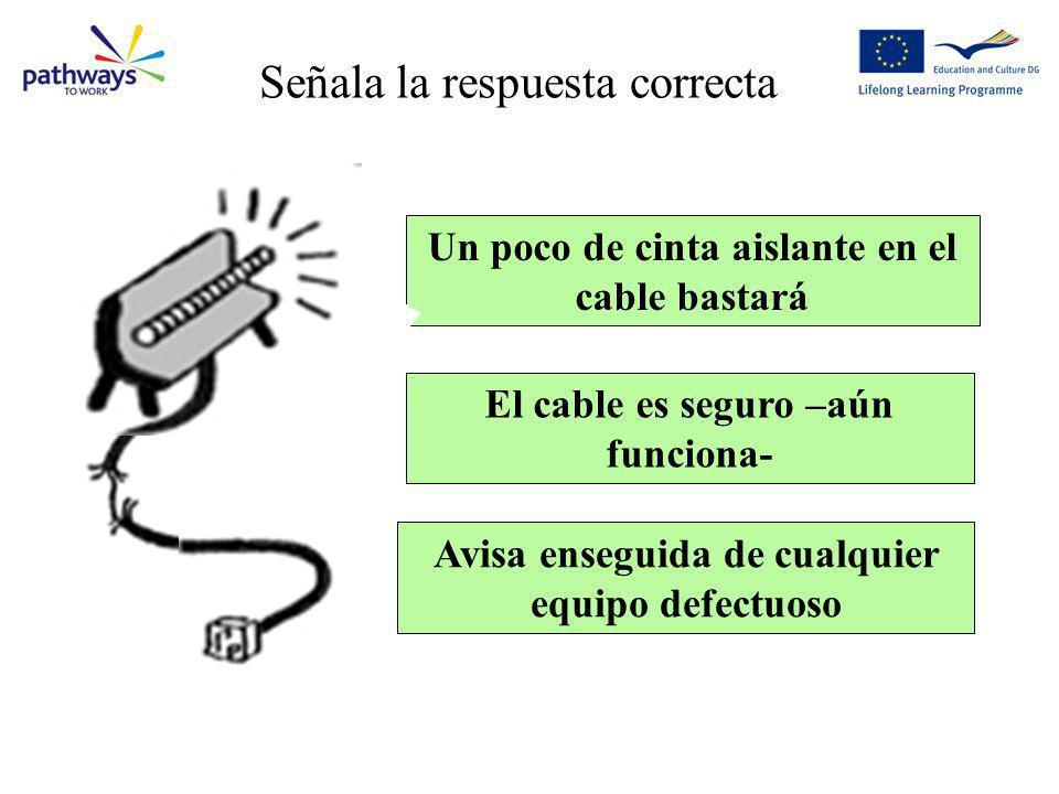 Question9 Un poco de cinta aislante en el cable bastará Avisa enseguida de cualquier equipo defectuoso El cable es seguro –aún funciona- Señala la res