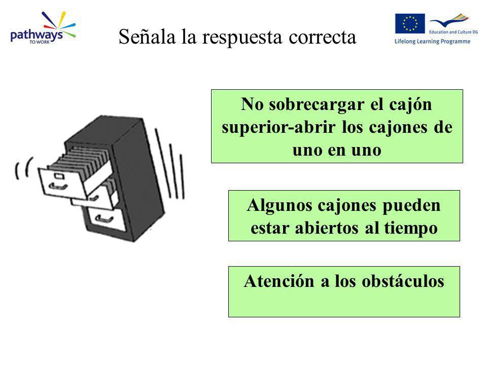 No sobrecargar el cajón superior-abrir los cajones de uno en uno Algunos cajones pueden estar abiertos al tiempo Atención a los obstáculos Question 2